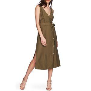 1.STATE Faux Wrap Button Front V-Neck Midi Dress 4